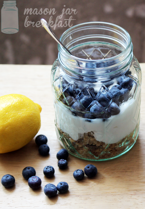 blueberry lemon yogurt Mason jar recipe ready to eat