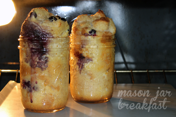 blueberry French toast in a jar baking