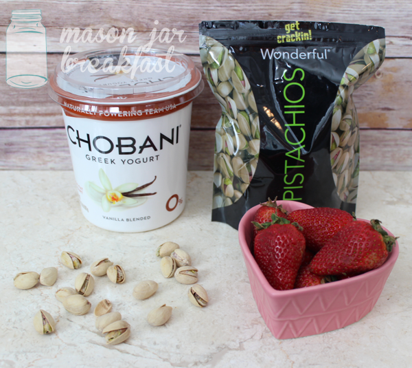 strawberries & pistachio yogurt parfait ingredients