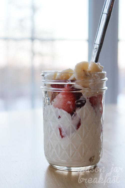 Simple Strawberry Banana Split Classic Breakfast in a Jar