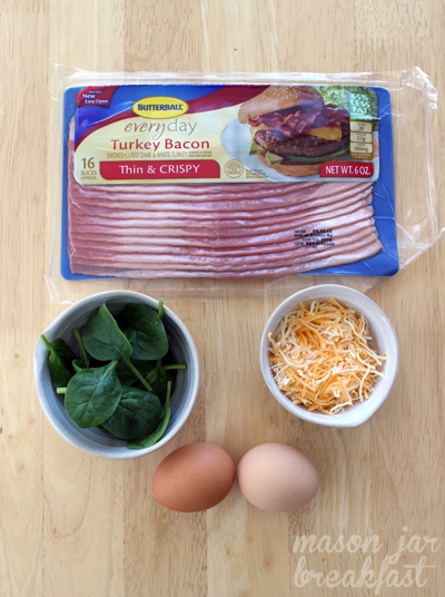 Ingredients for bacon and eggs in a jar
