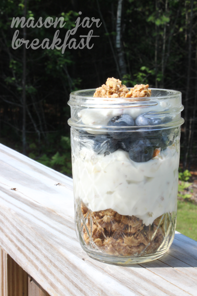 blueberry cheesecake with cinnamon granola yogurt parfait in a Mason jar