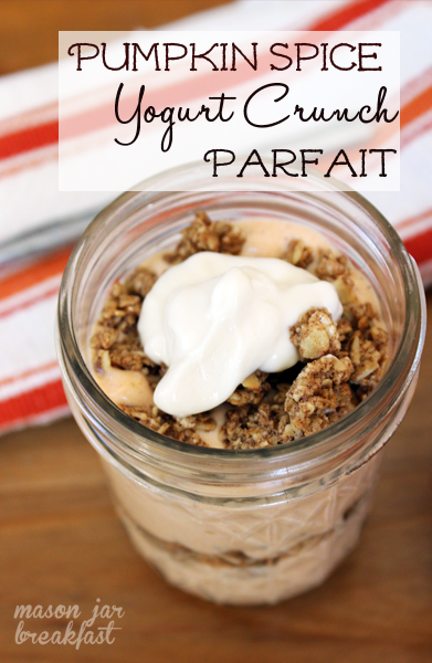 pumpkin spice & vanilla yogurt crunch parfait ready to eat