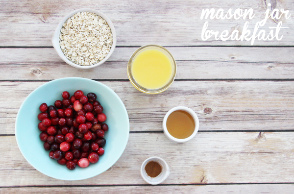 cranberry oatmeal in a Mason jar ingredients
